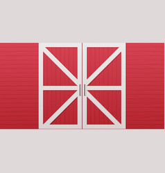 Red wooden barn door front side background vector
