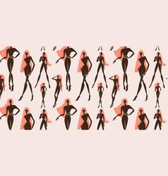 Seamless feminine woman standing vector