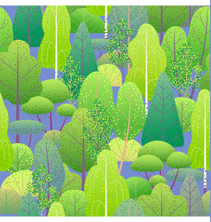 seamless pattern with green forest vector image