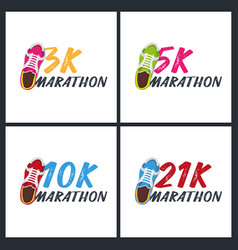 Set banners 3k 5k 10k and 21k marathon run vector