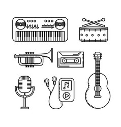 Set elements to listen and play music vector