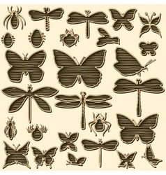 Set of stylized insects for decorating your work vector image