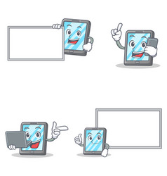 Set of tablet character with phone laptop board vector