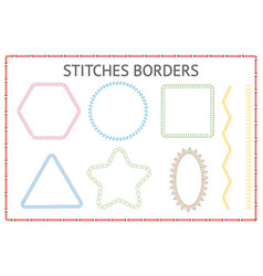 set seamless stitch borders different shapes vector image