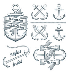 set vintage anchors vector image