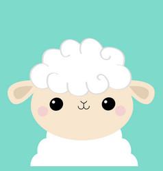 Sheep lamb face head icon cloud shape cute vector