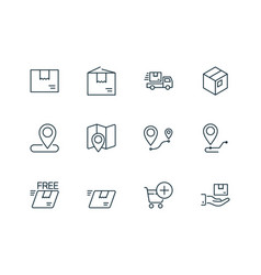 shipping and delivery line icons set on white vector image