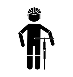 Silhouette professional racing cyclist uniform vector