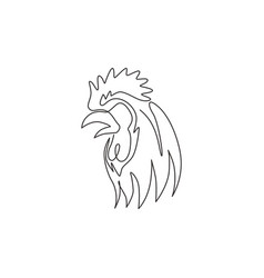single continuous line drawing brave rooster vector image