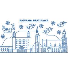 Slovakia bratislava winter city skyline merry vector