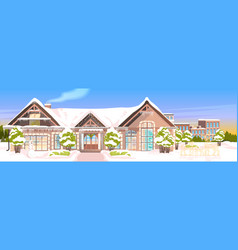 Snow covered house yard in winter season home vector
