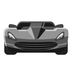 Sport car front view icon gray monochrome style vector