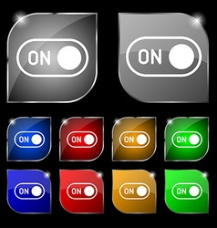 start icon sign Set of ten colorful buttons with vector image