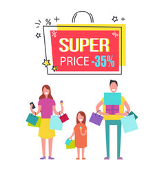 Super price with 35 off banner with happy family vector