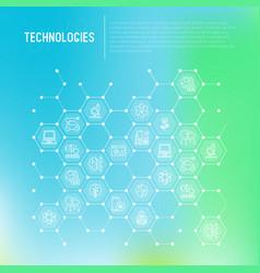 Technologies concept in honeycombs vector