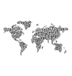 the map of the world made of people silhouettes vector image