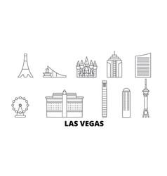 united states las vegas line travel skyline set vector image