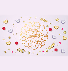 valentine day greeting card gold calligraphy text vector image