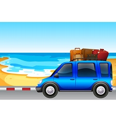 Van parking by the ocean vector image