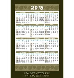 wallet calendar 2015 start on Sunday vector image