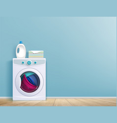 Washing machine in room vector