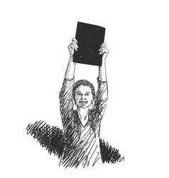 woman showing blank black banner in hands raised vector image