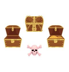 wooden treasure chest skull cross bones vector image