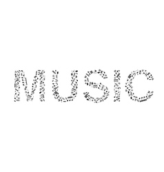 Word music made of music signs vector image