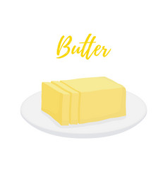 yellow butter bar with slices on plate vector image