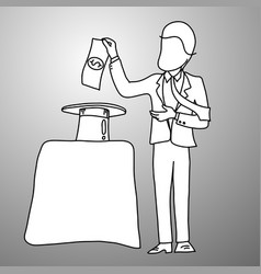 businessman use a magic trick to making money vector image