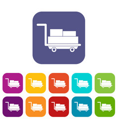 cart with luggage icons set flat vector image vector image