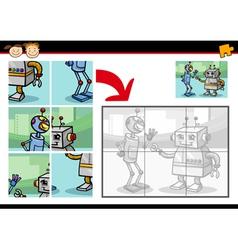 cartoon robots jigsaw puzzle game vector image