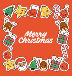 merry christmas card invitation decoration frame vector image
