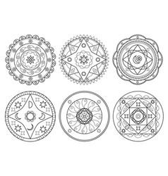set of arabic mandala on white background vector image