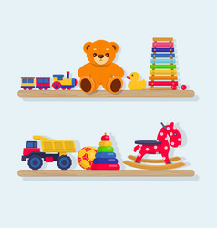 set of different kids toys on wooden shelves vector image vector image