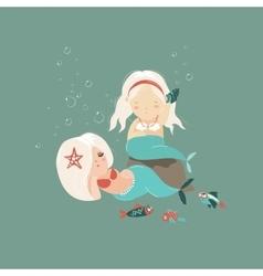 Two little beautiful mermaid girls vector image