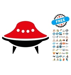 Alien Spaceship Icon with 2017 Year Bonus vector image vector image