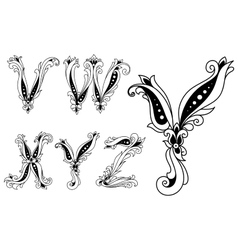 Floral black and white capital letters vector image