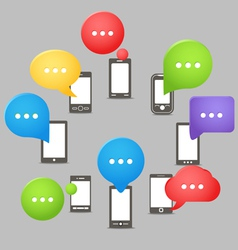 Group of modern mobile phones with speech clouds vector image vector image