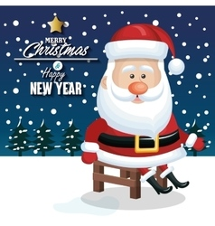 merry christmas and happy new yaer santa claus vector image vector image