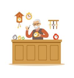 bearded senior man repairing watches watchmaker vector image