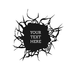 Cracked hole on white wall with space for text vector image