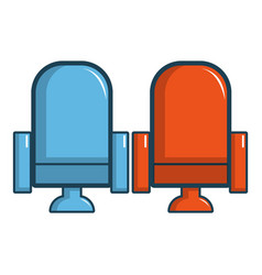 red and blue cinema armchairs icon cartoon style vector image vector image