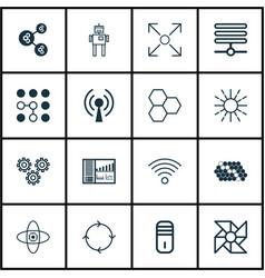 set of 16 robotics icons includes radio waves vector image