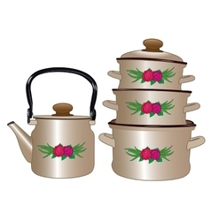 Set of new pots and kettle vector image vector image