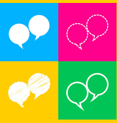 speech bubble sign four styles of icon on four vector image