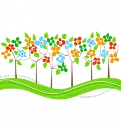 spring trees line vector image vector image