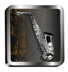 steel icon saxophone engraving vector image