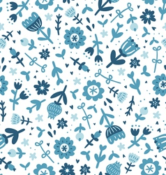 Blue floral print pattern vector image vector image