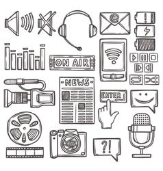 Media sketch icons set vector image vector image